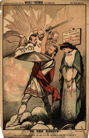 Standard gender roles in a John Fergus O'Hea cartoon from the Weekly Freeman, 1891